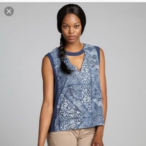 BCBGMAXAZRIA Crosby Printed Cutout Blouse Top